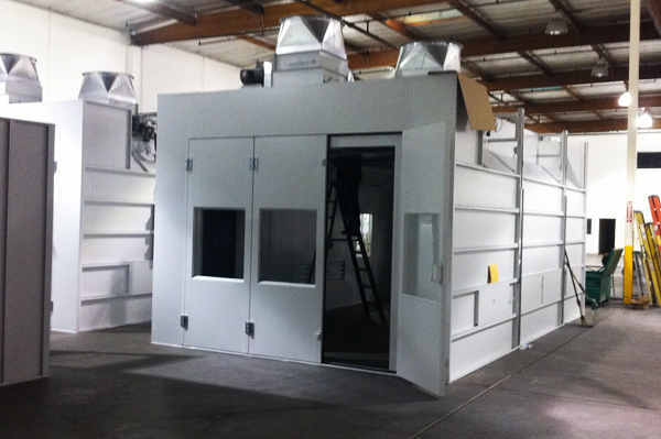 Semi downflow drive thru heated spray booth